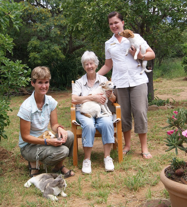 The McDonald family with their beautiful array of pets, including two dogs a cat and a guinea pig