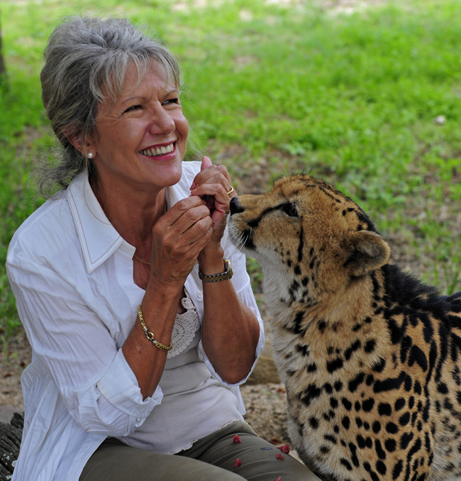 A lady playing with a cheetah