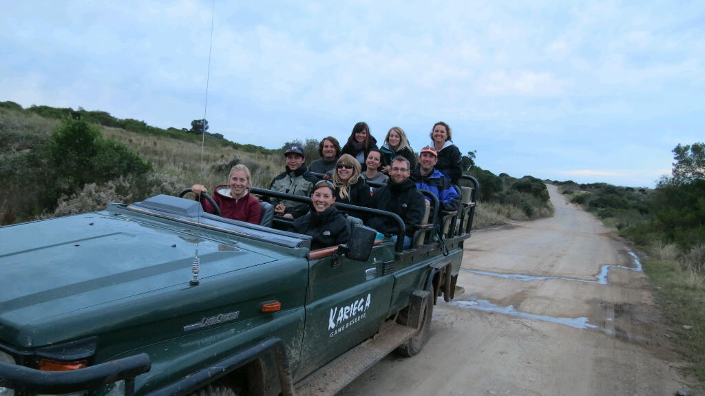 a group of volunteers on the move on the Kariega game reserve jeep