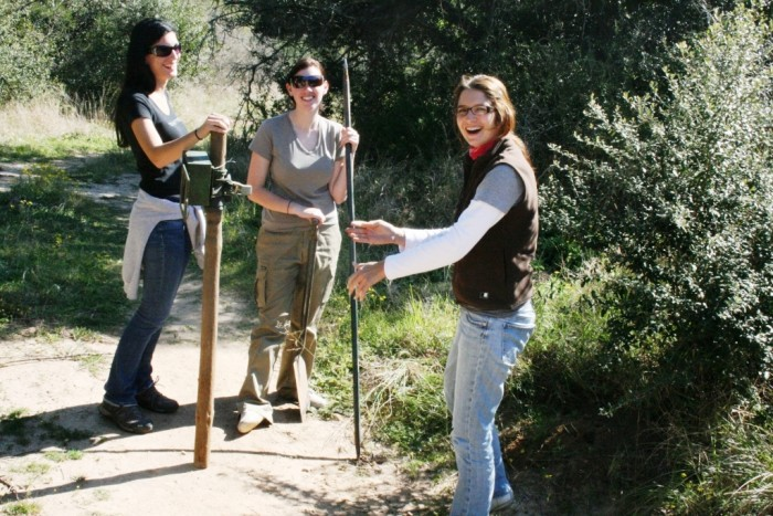 volunteers with their digging tools
