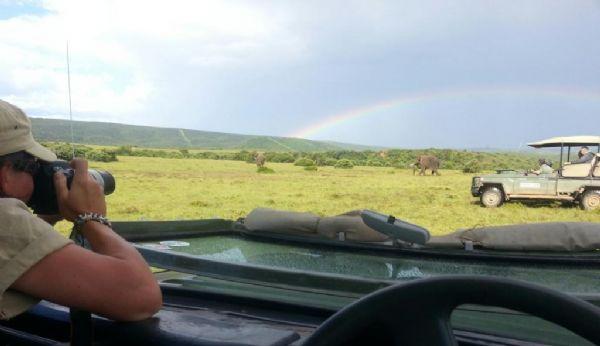 Shamwari volunteers watch on as elephants stroll past a beautiful rainbow