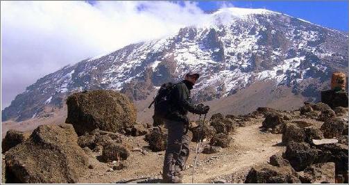 An adventurer trekking up one Africa's amazing mountains