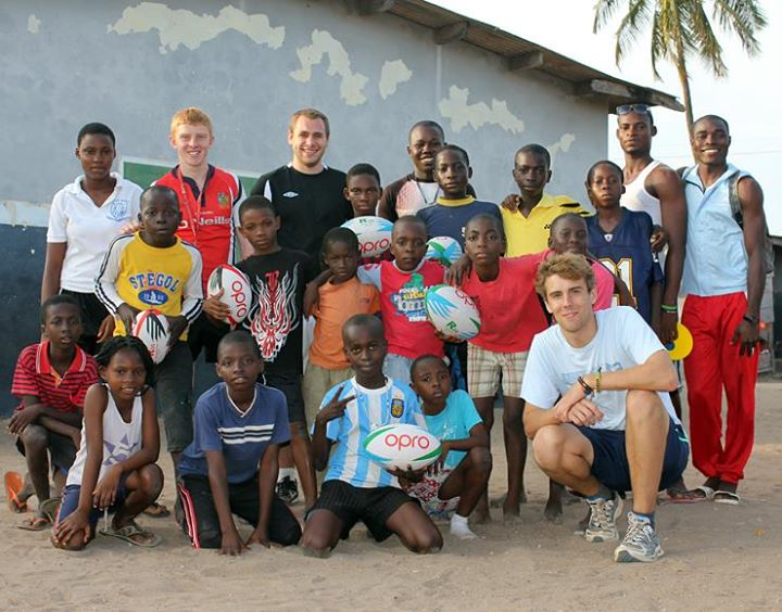 Volunteers with the local community on a rugby coaching project