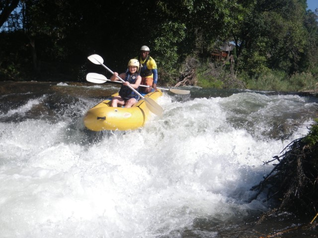 One of our volunteers water rafting in south africa