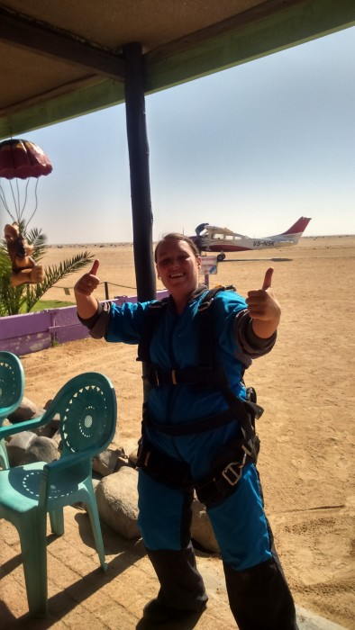 A Gap Africa volunteer ready to skydive