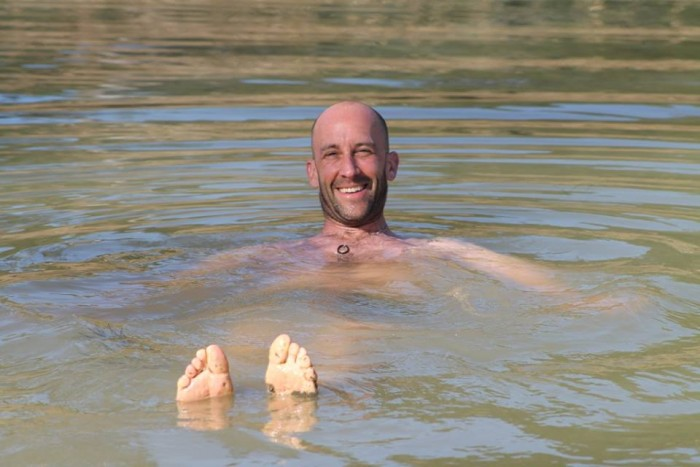 Angus, a lecturer from Cornwall College enjoying a dip in the pool