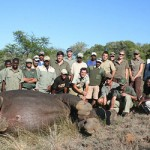 Volunteers and Amakhala staff with a hippo