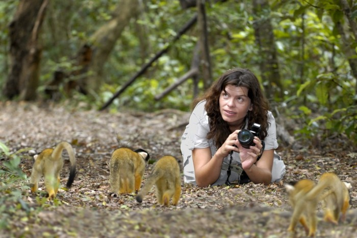 Camera woman taking picture of some monkeys