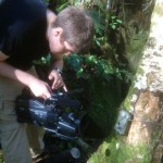 One of our volunteers recording in the jungle
