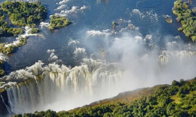Overland view of stunning waterfall