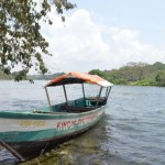 Boat on river in Africa