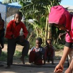 School children playing games