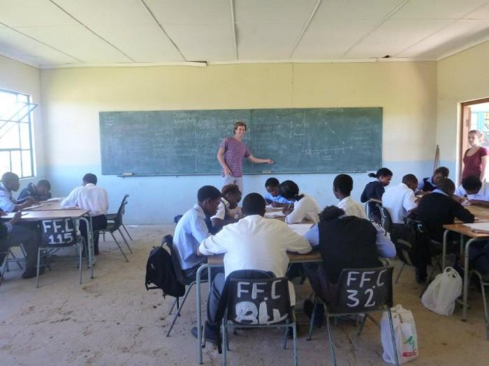 A volunteer teaching a class