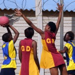Local members of the community playing netball
