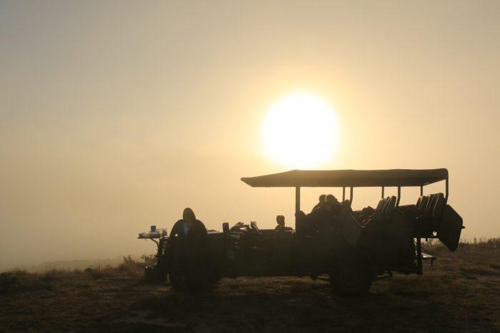 The sun sets as volunteers monitor black rhinos